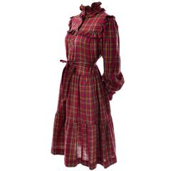 1978 Vintage Yves Saint Laurent YSL Plaid Wool Dress with Ruffles Documented
