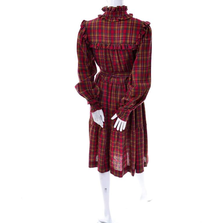 1978 Vintage Yves Saint Laurent YSL Plaid Wool Dress with Ruffles Documented For Sale 3