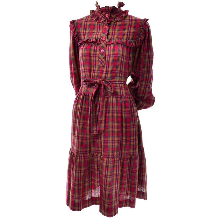 1978 Vintage Yves Saint Laurent YSL Plaid Wool Dress with Ruffles Documented In Good Condition For Sale In Portland, OR