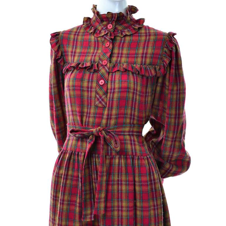 1978 Vintage Yves Saint Laurent YSL Plaid Wool Dress with Ruffles Documented For Sale 2