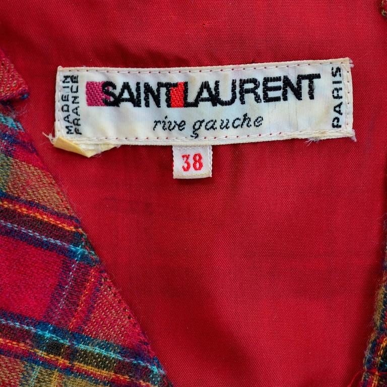 1978 Vintage Yves Saint Laurent YSL Plaid Wool Dress with Ruffles Documented For Sale 5