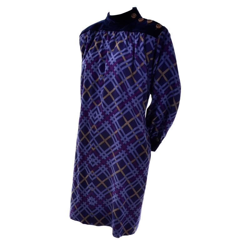 Yves Saint Laurent Wool and Velvet Fall Winter Vintage Plaid Dress