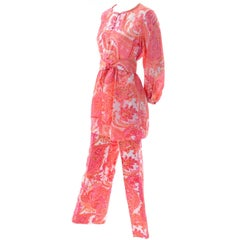 1970s Vintage Pink & Orange Cotton 2pc High Waisted Pants & Tunic Outfit w/belt