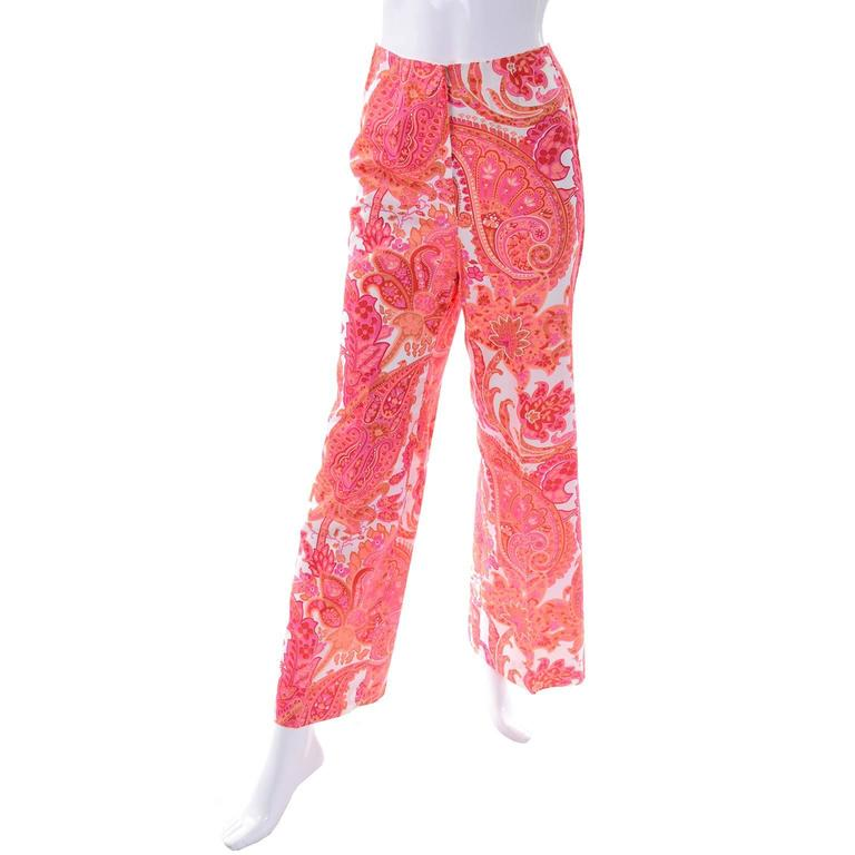 Women's 1970s Vintage Pink & Orange Cotton 2pc High Waisted Pants & Tunic Outfit w/belt  For Sale