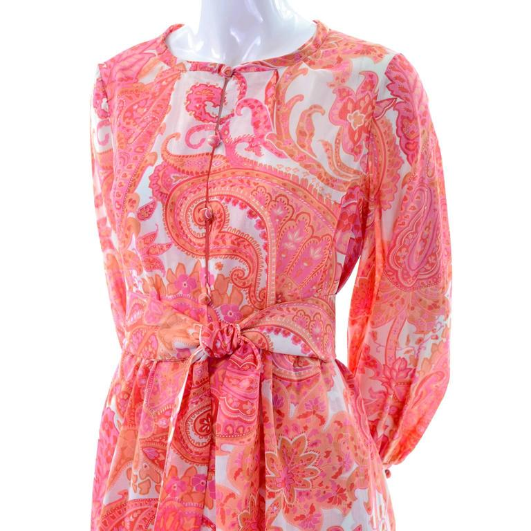 1970s Vintage Pink & Orange Cotton 2pc High Waisted Pants & Tunic Outfit w/belt  For Sale 2