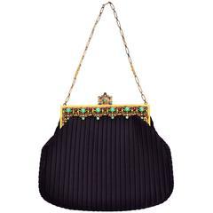 Beaded Jeweled Frame Vintage Black Satin Pleated Evening Bag Handbag