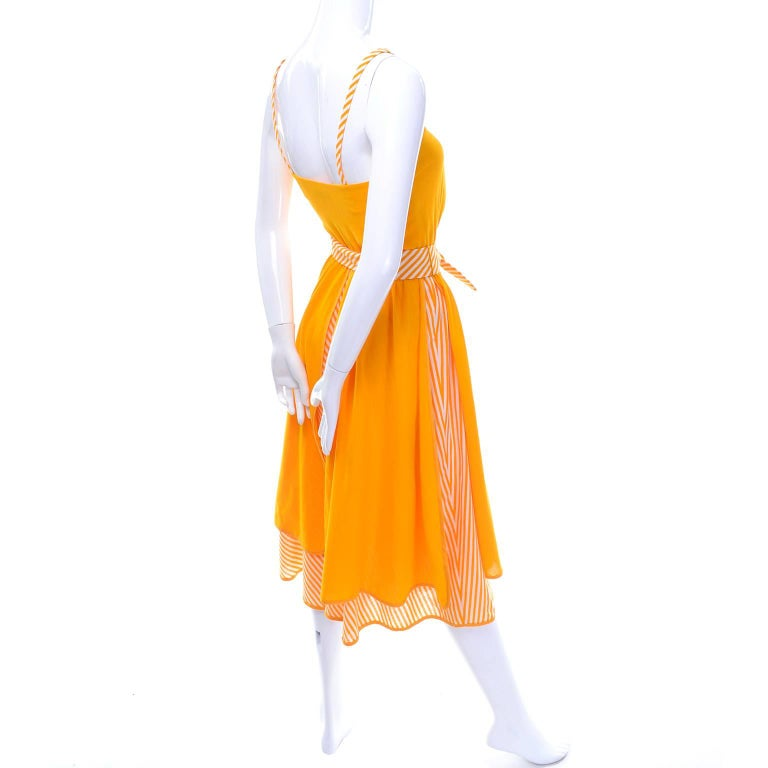 Lanvin Dress New Old Stock 1970s Marigold Yellow Striped Vintage Sundress Size 4 8