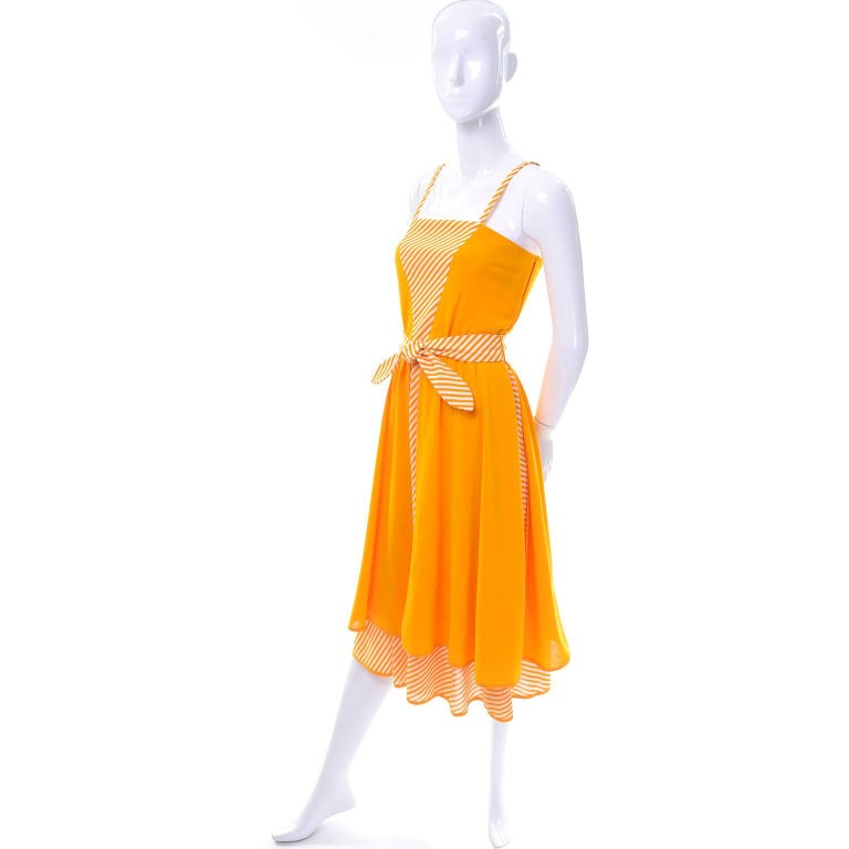 Lanvin Dress New Old Stock 1970s Marigold Yellow Striped Vintage Sundress Size 4 6
