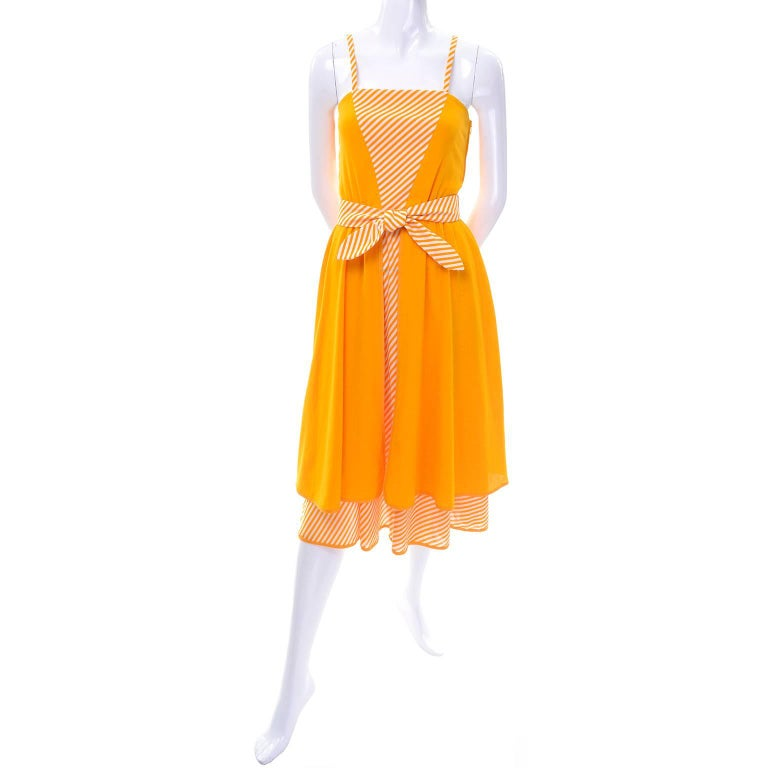 Lanvin Dress Deadstock 1970s Marigold Yellow Striped Vintage Sundress w Tags In New Condition For Sale In Portland, OR