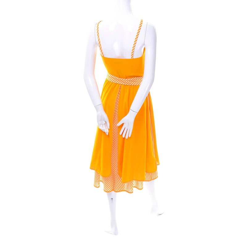 Lanvin Dress New Old Stock 1970s Marigold Yellow Striped Vintage Sundress Size 4 7