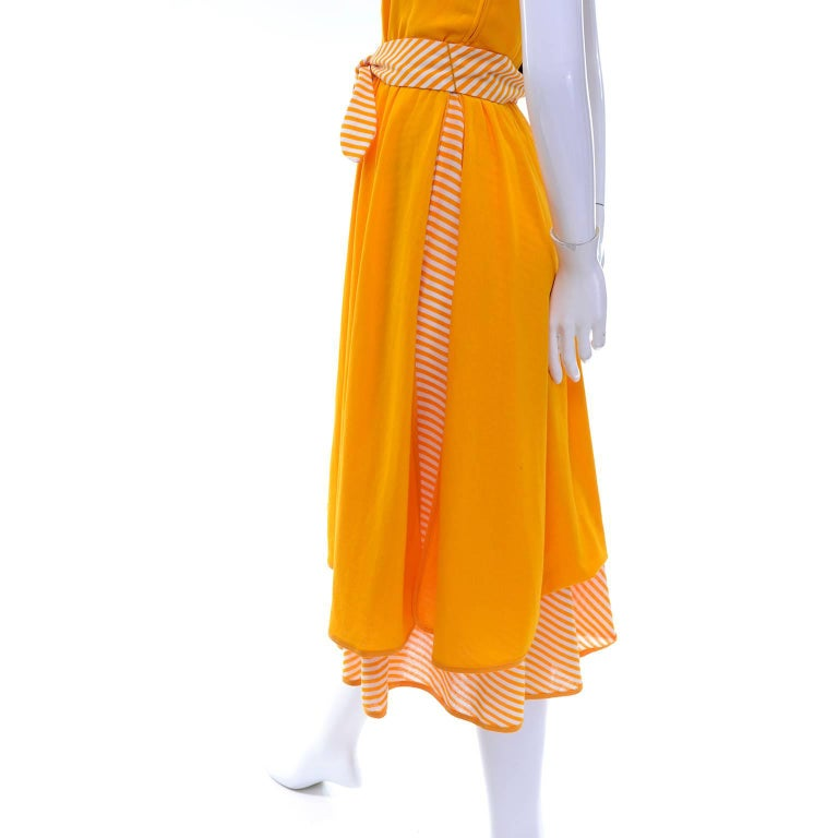 Lanvin Dress Deadstock 1970s Marigold Yellow Striped Vintage Sundress w Tags For Sale 4