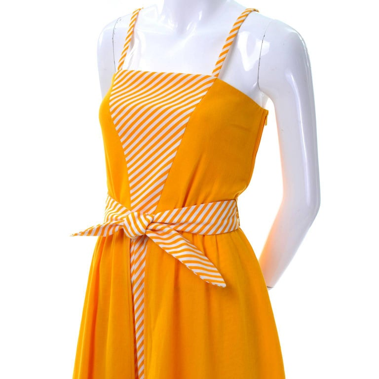 Lanvin Dress Deadstock 1970s Marigold Yellow Striped Vintage Sundress w Tags For Sale 3