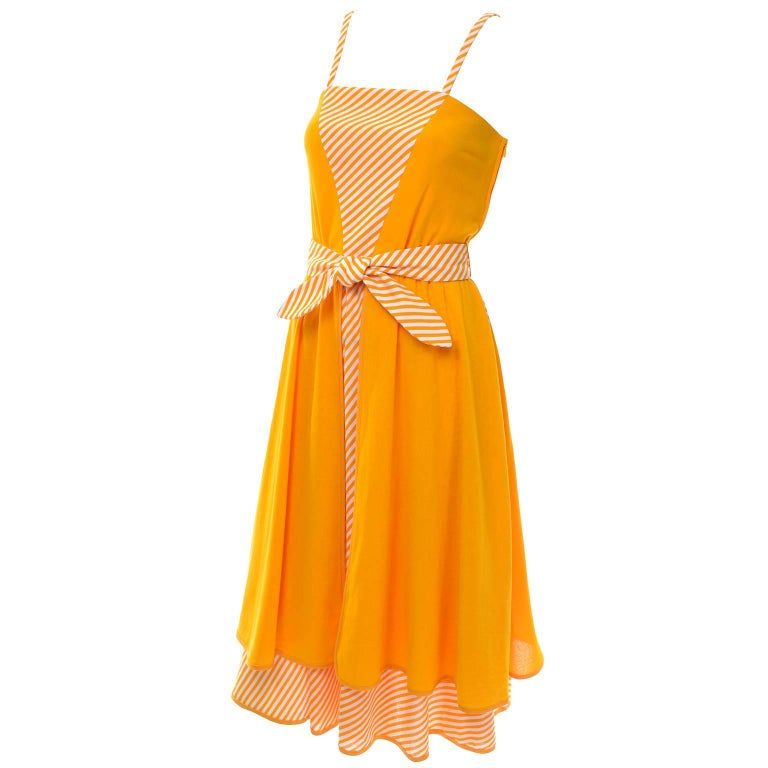 Lanvin Dress New Old Stock 1970s Marigold Yellow Striped Vintage Sundress Size 4 1