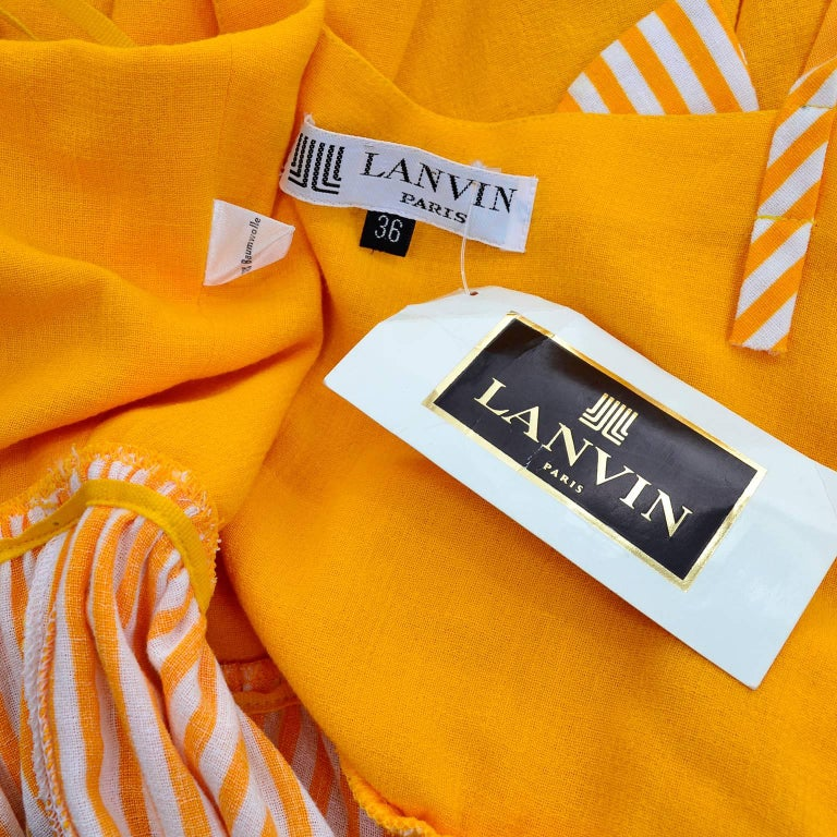 Lanvin Dress New Old Stock 1970s Marigold Yellow Striped Vintage Sundress Size 4 9