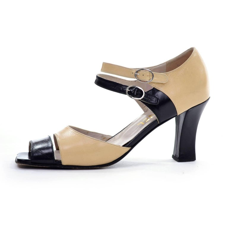 Women's Chanel Vintage Peep Toe Double Strap Two Tone Beige and Black Shoes 37.5 For Sale