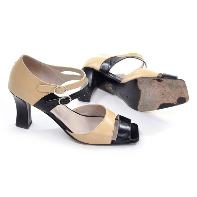 Chanel Vintage Peep Toe Double Strap Two Tone Beige and Black Shoes 37.5 For Sale 1
