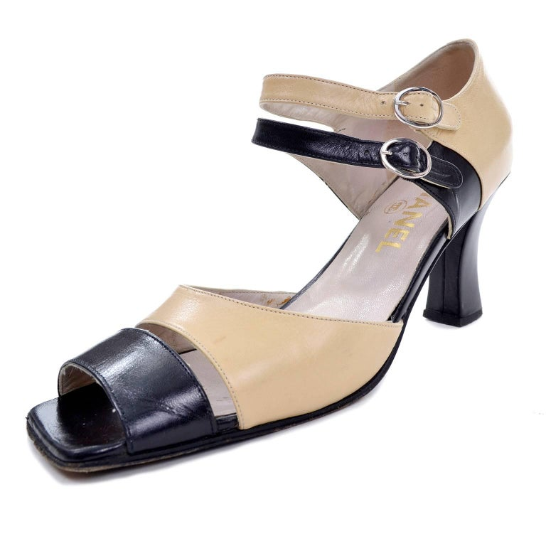 Chanel Vintage Peep Toe Double Strap Two Tone Beige and Black Shoes 37.5 For Sale 3