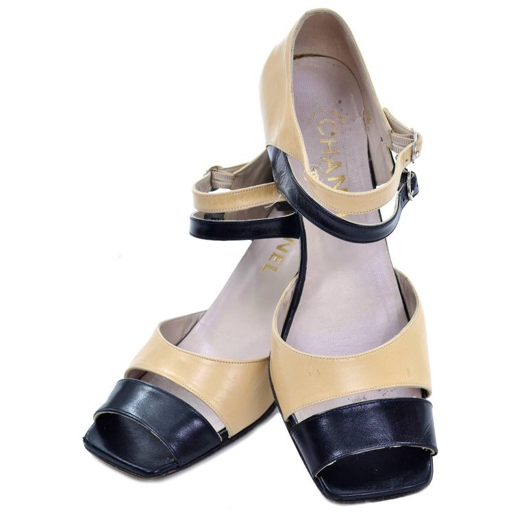 Chanel Vintage Peep Toe Double Strap Two Tone Beige and Black Shoes 37.5 For Sale 5