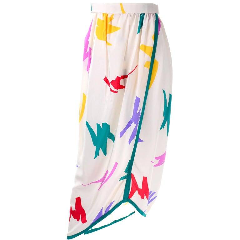 Oscar de la Renta Vintage Skirt in Abstract Jewel Tone Print on Ivory Silk