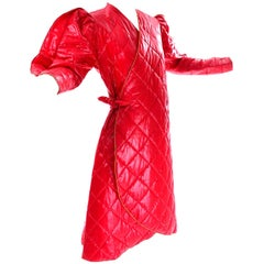 1980s Avant Garde Jacket Roedean Landeaux Vintage Custom Shiny Red Quilted Coat