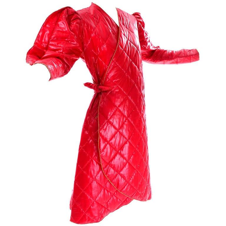 1980s Avant Garde Jacket Roedean Landeaux Vintage Custom Shiny Red Quilted Coat