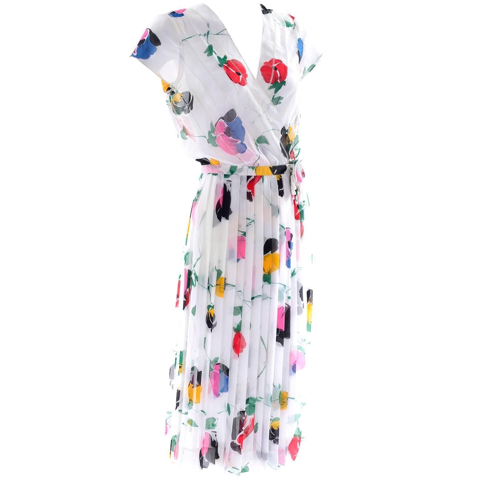 1970s Albert Nipon Vintage Faux Wrap Style Dress in Bold Sheer Floral Print