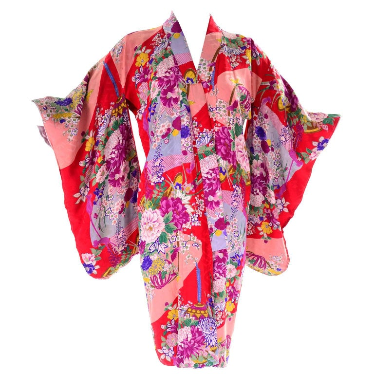 Red Floral Silk Multi Colored Vintage Kimono Robe from Asian Textile Collection