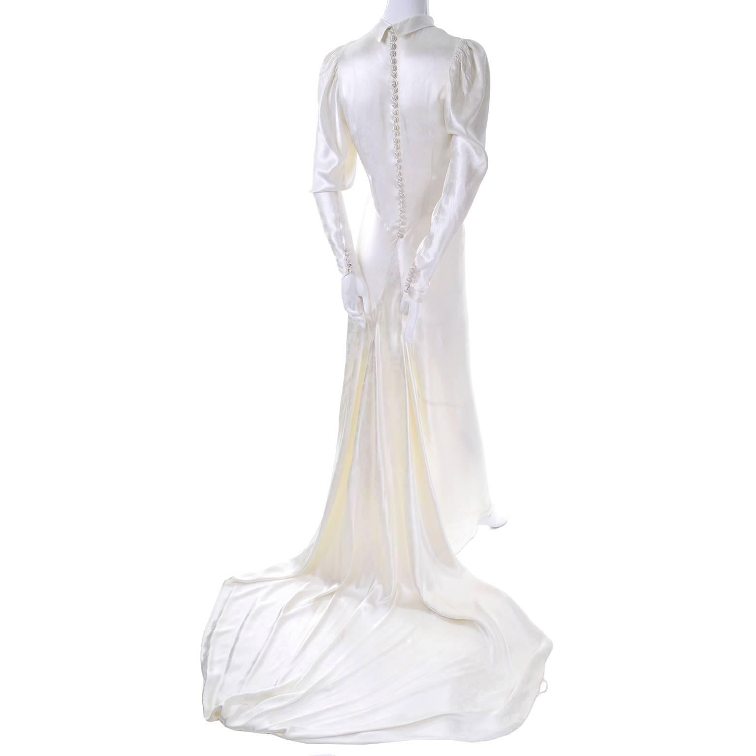 1930s Vintage Ivory Silk Satin Wedding Dress with Train and High ...
