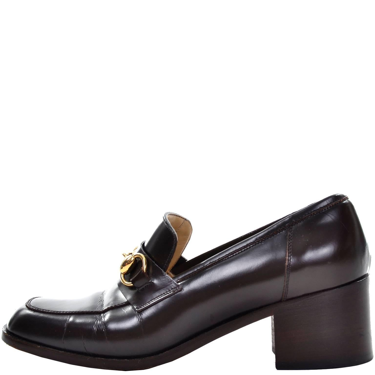 90f4c99ec Gucci Vintage Shoes Brown Leather Loafers w/ Horsebit Buckles Size 7.5 at  1stdibs