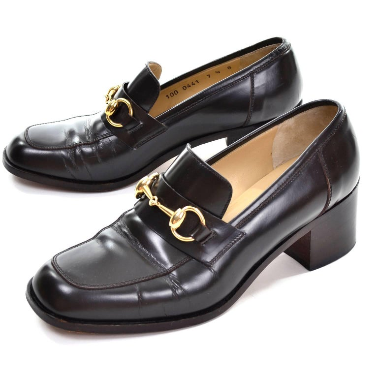 Gucci Vintage Shoes Brown Leather Loafers w/ Horsebit ...