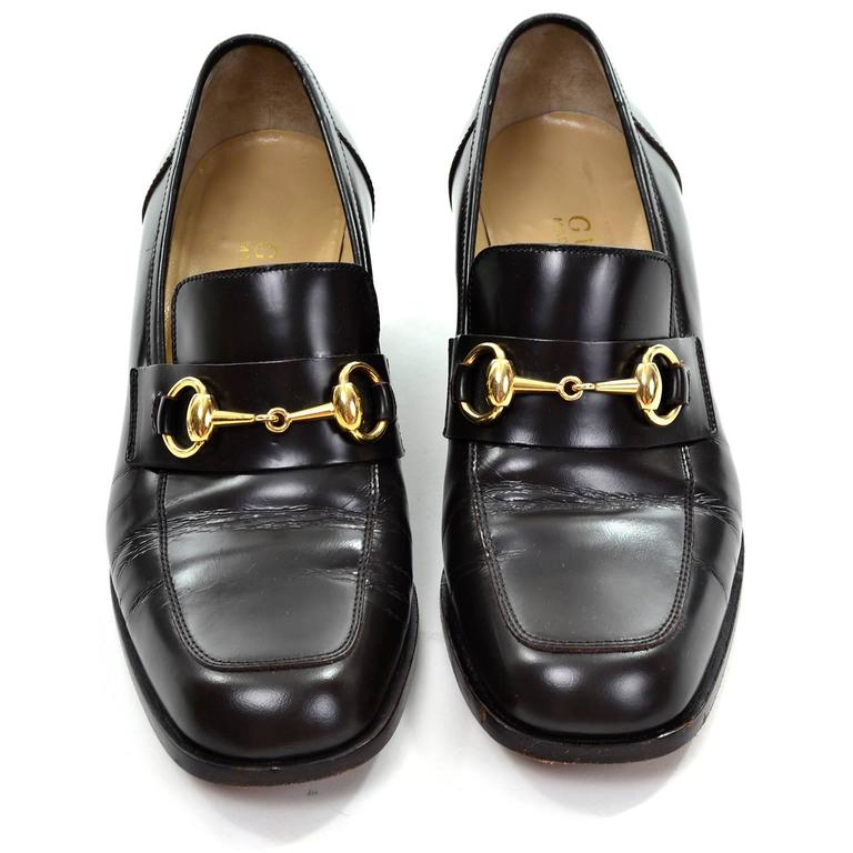 ddad2053f2e4 Gucci Vintage Shoes Brown Leather Loafers w  Horsebit Buckles Size 7.5 In  Excellent Condition For