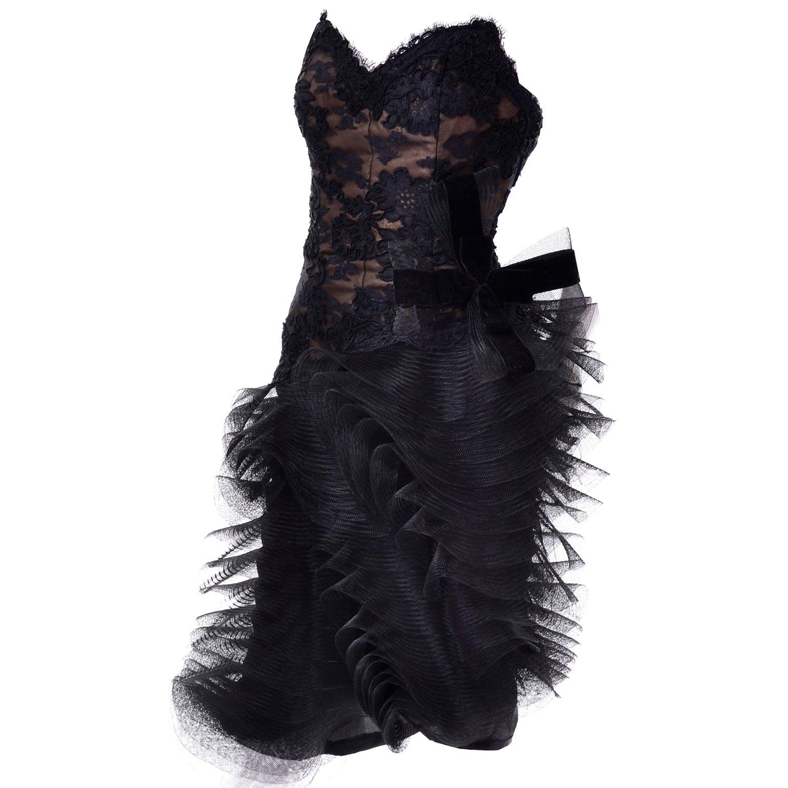 Victor Costa Elizabeth Arden Black Sculpted Avant Garde Vintage Dress