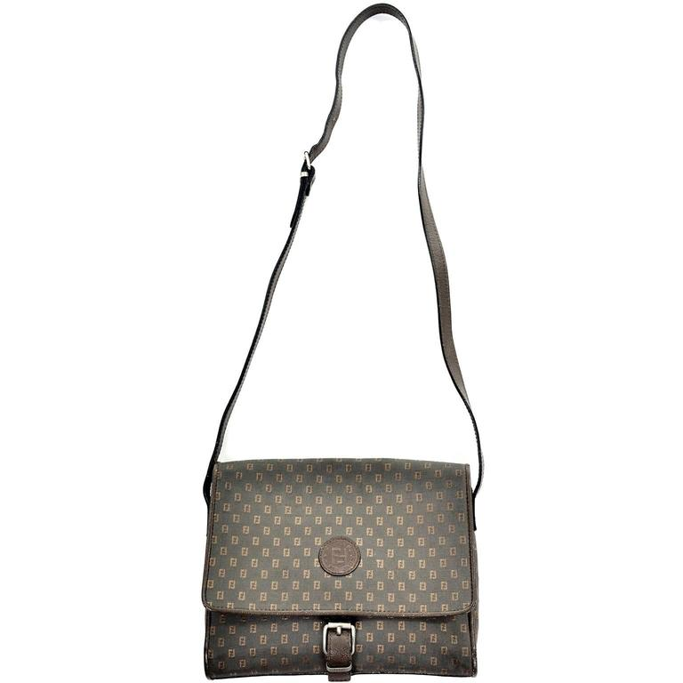 e60f8cc897c7b Vintage Fendi SAS Canvas   Leather Logo Handbag w Adjustable Shoulder Strap  For Sale