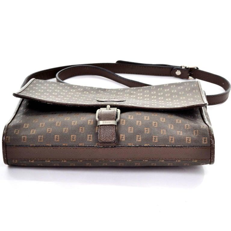 Vintage Fendi SAS Canvas and Leather Logo Handbag w ...