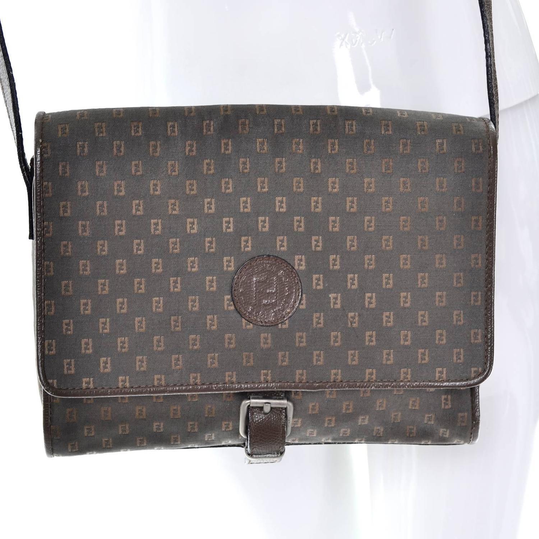 8afea8b9c757 Vintage Fendi SAS Canvas and Leather Logo Handbag w Adjustable Shoulder  Strap at 1stdibs
