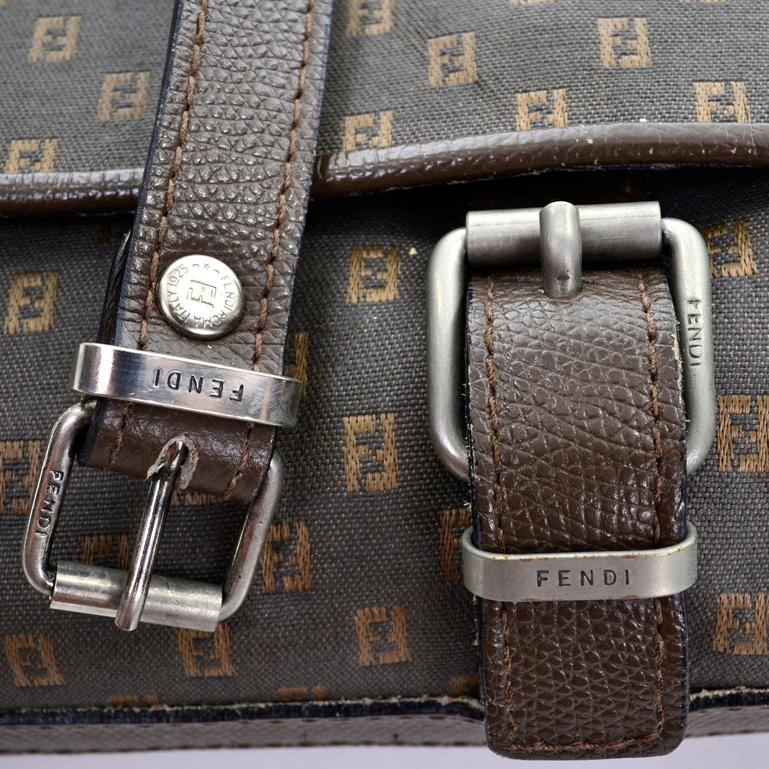 Fendi Vintage Fendi Sas Canvas & Leather Logo Handbag W Adjustable Shoulder Strap NayMdB