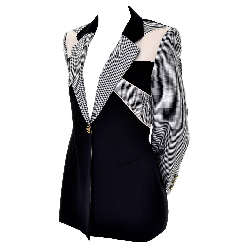 4c1aceb33179 1980s Margaretha Ley Escada Vintage Black Check Wool Blazer Jacket in Size  40
