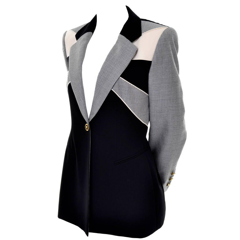 Margaretha Ley Escada Vintage Black Check Blazer Jacket Size 40