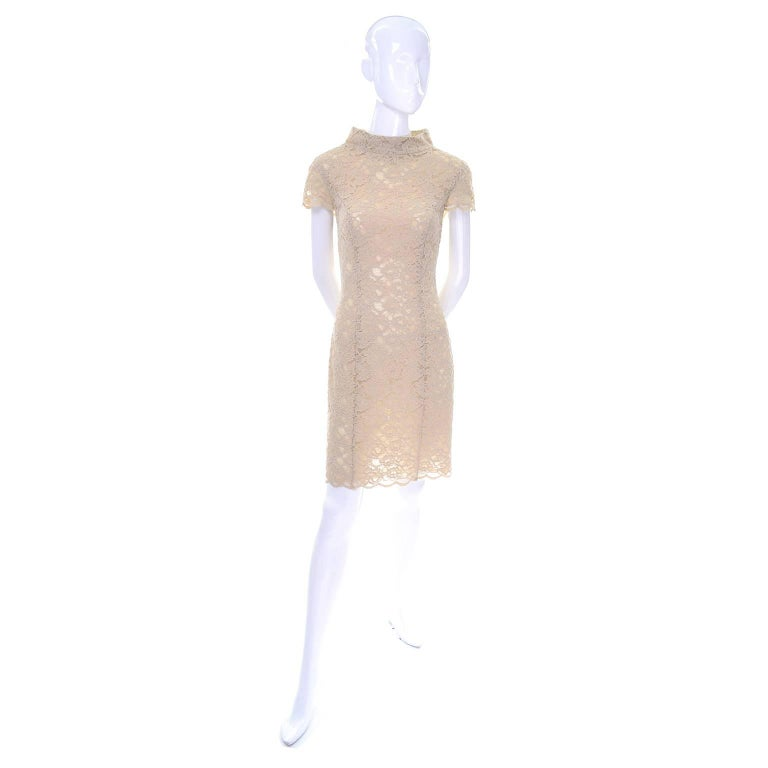 Beige Moschino Cream Sand Lace Short Sleeve Mock T Neck Vintage Dress US Size 6  For Sale