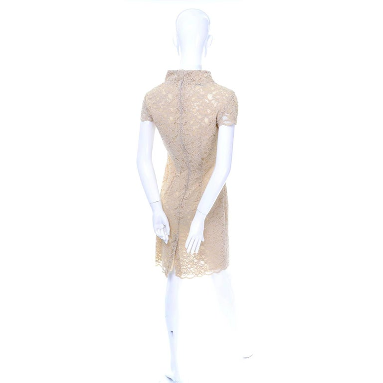Women's Moschino Cream Sand Lace Short Sleeve Mock T Neck Vintage Dress US Size 6  For Sale