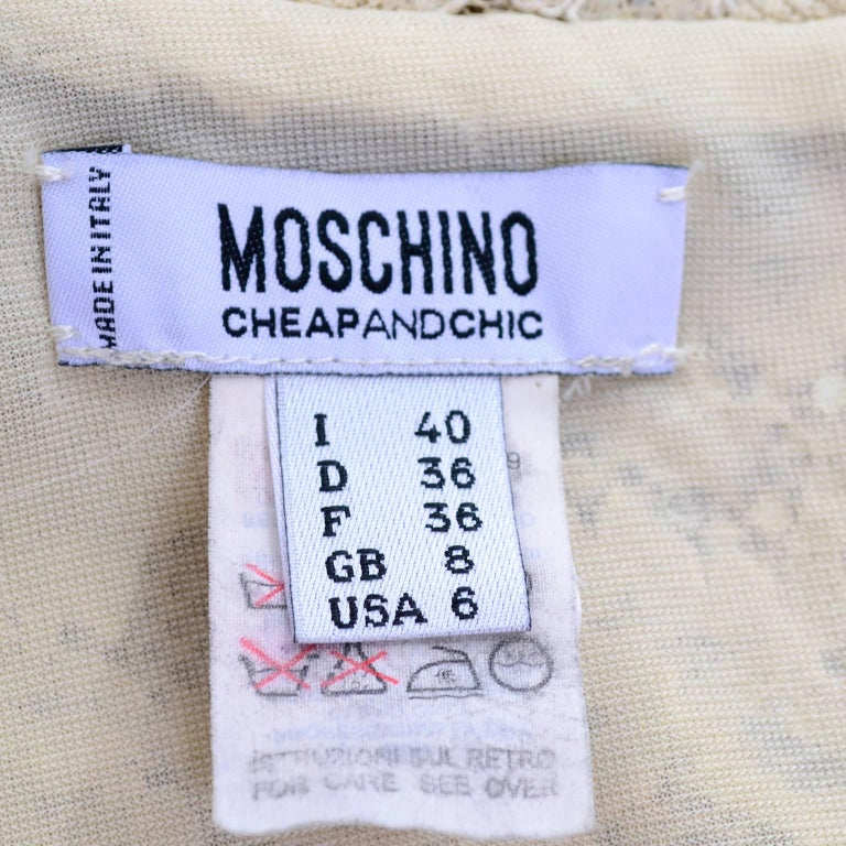 Moschino Cream Sand Lace Short Sleeve Mock T Neck Vintage Dress US Size 6  For Sale 3