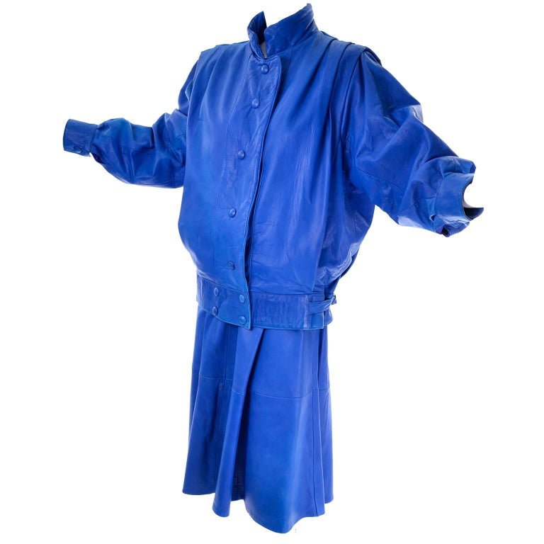 1980s Vintage Saturated Blue Soft Leather Oversized Jacket & Full Skirt Suit