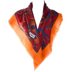 "YSL Yves Saint Laurent Vintage Scarf 34"" in Orange Blue and Burgundy Wool"