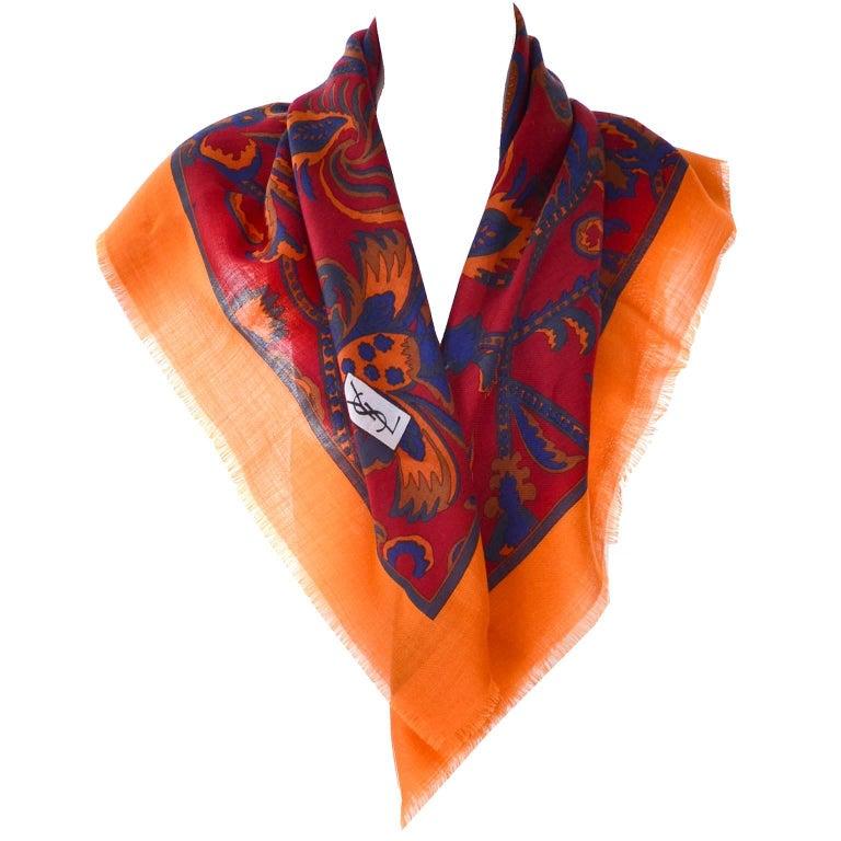 "YSL Yves Saint Laurent Vintage Scarf 34"" in Orange Blue and Burgundy Wool For Sale"