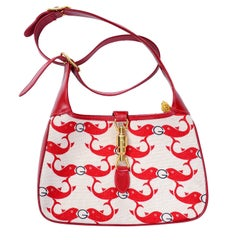 Rare Vintage 1970s Gucci Red Whale or Dolphin Fish Handbag with Shoulder straps
