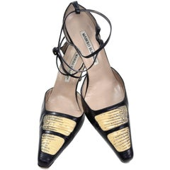Manolo Blahnik Shoes Lizard Roccia Vintage Ankle Strap Pumps in Size 37.5