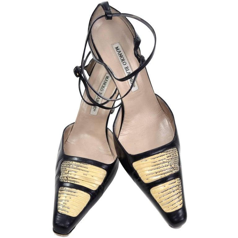 Manolo Blahnik Shoes Lizard Roccia Vintage Ankle Strap Pumps in Size 37.5