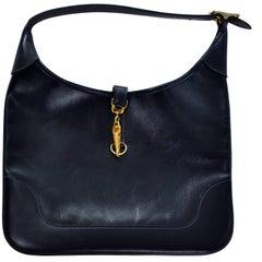 Hermes Midnight Navy Blue Box Trim 31 Vintage Leather Handbag Gold Lobster Claw