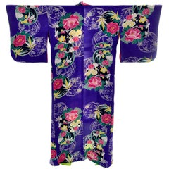 Royal Blue Vintage Silk Kimono Robe With Pink & Yellow Flowers and Silk Lining