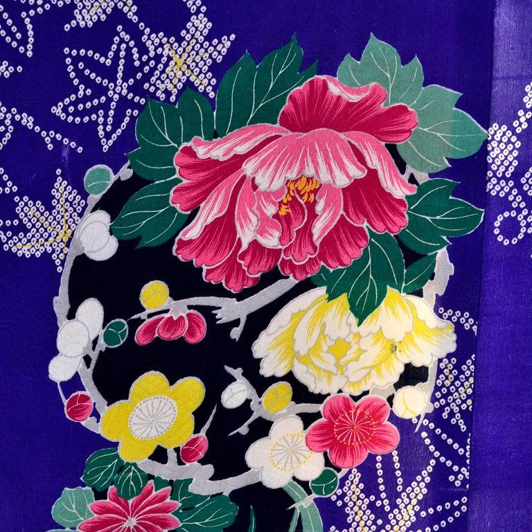 Royal blue vintage silk kimono robe with pink and yellow flowers and royal blue vintage silk kimono robe with pink yellow flowers and silk lining for sale mightylinksfo